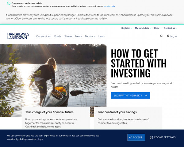 Desktop screenshot of Hargreaves Lansdown website