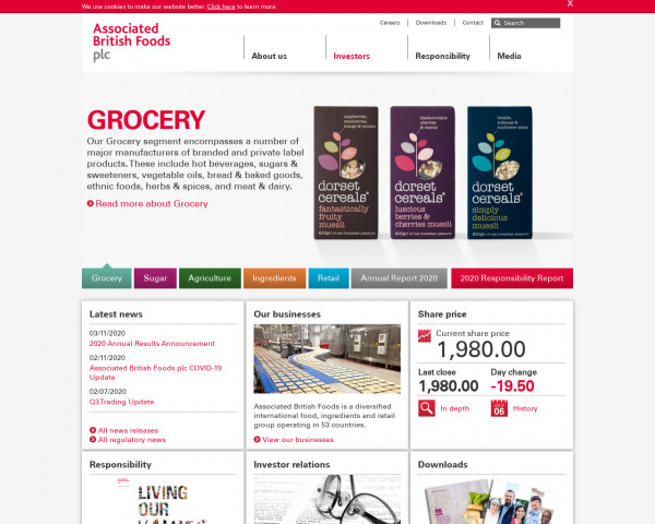 Desktop screenshot of Associated British Foods website