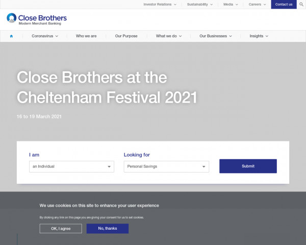 Screenshot of Close Brothers Group plc