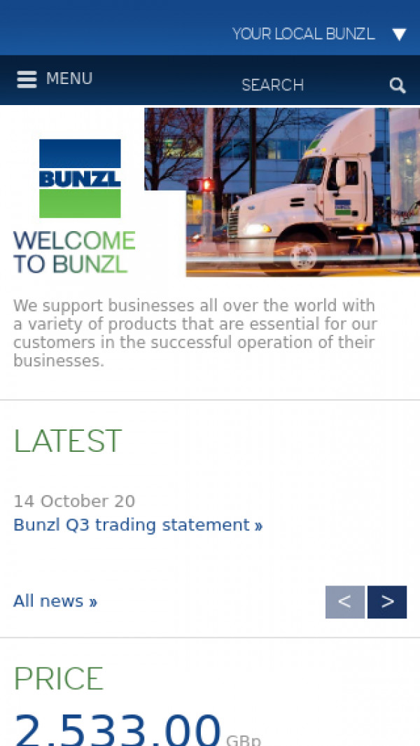 Mobile screenshot of Bunzl website