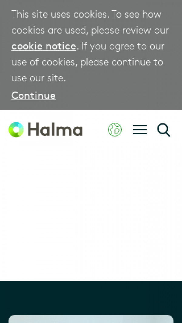 Mobile screenshot of Halma website