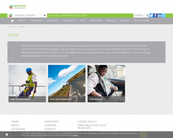 Desktop screenshot of Vivo Energy PLC website