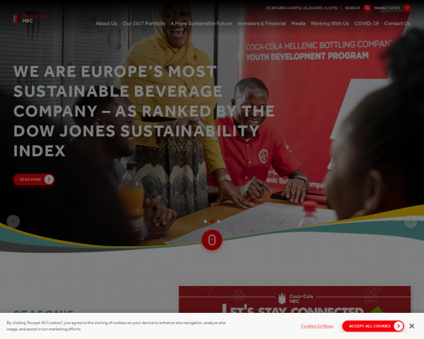 Screenshot of A growth-focused Consumer Packaged Goods business and strategic partner to The Coca-Cola Company | Coca-Cola HBC