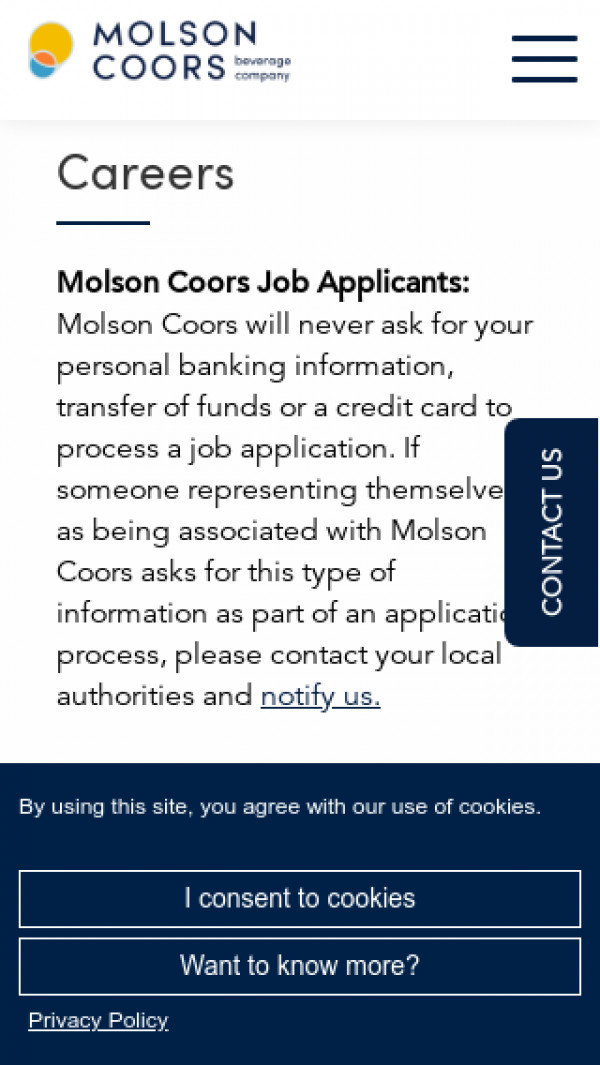 Mobile screenshot of Molson Coors Brewing Company website