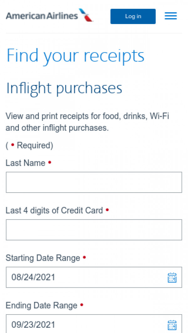 Mobile screenshot of American Airlines Group website