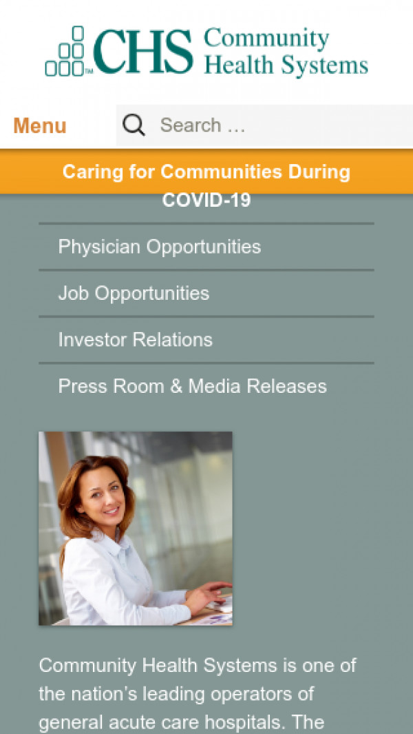 Mobile screenshot of Community Health Systems website