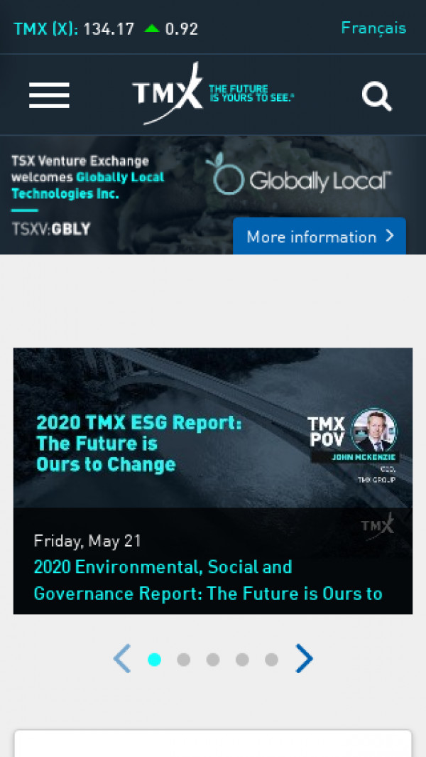 Mobile screenshot of TMX Group Limited website