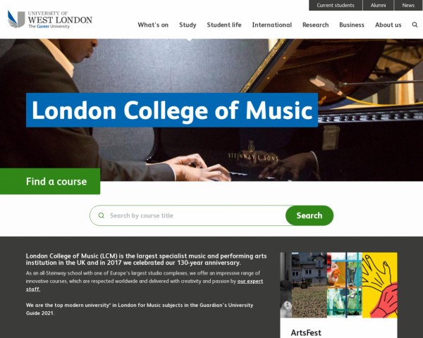 Screenshot of London College of Music