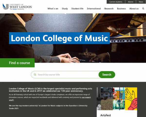 Desktop screenshot of London College of Music website