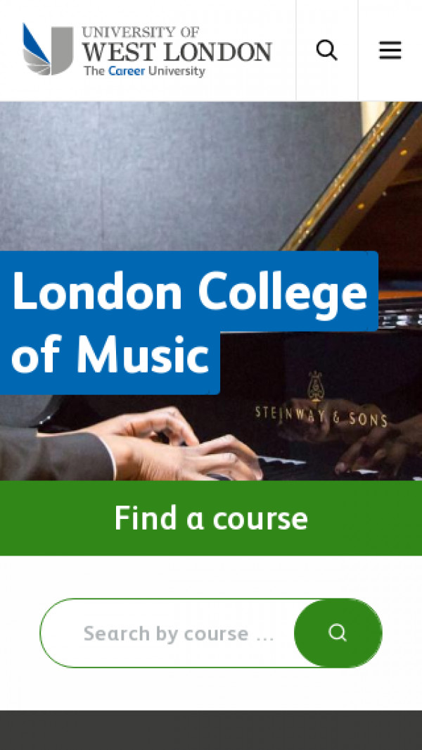 Mobile screenshot of London College of Music website