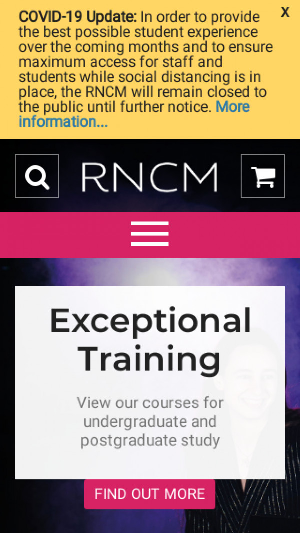 Mobile screenshot of Royal Northern College of Music website