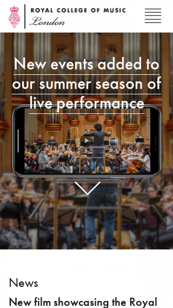 Mobile screenshot of Royal College of Music website