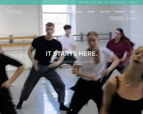 Desktop screenshot of Northern School of Contemporary Dance in Leeds website
