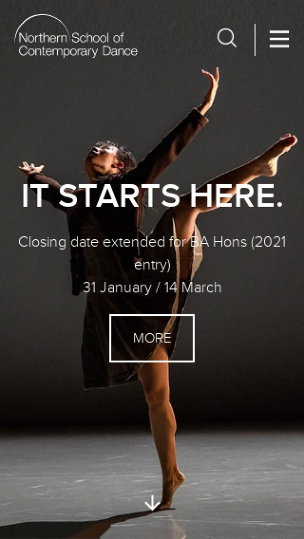Mobile screenshot of Northern School of Contemporary Dance in Leeds website