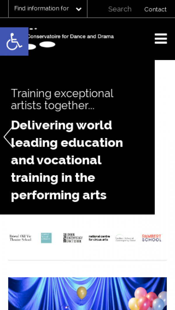 Mobile screenshot of Conservatoire for dance and drama website