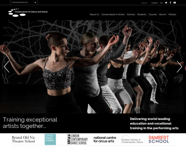 Desktop screenshot of Conservatoire for dance and drama website