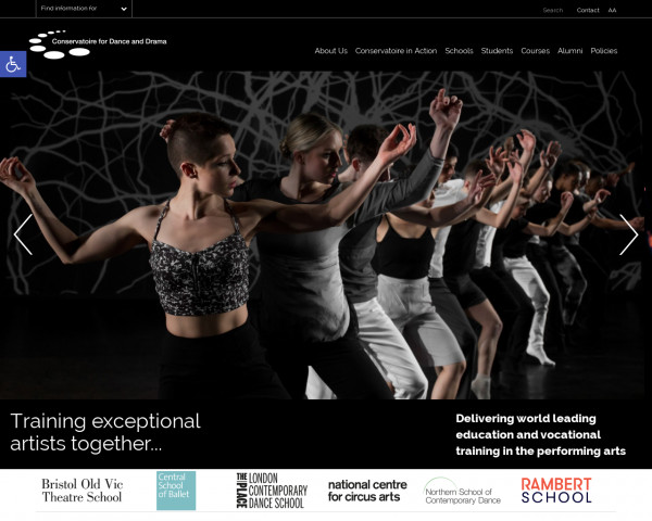 Screenshot of Home - Conservatoire for Dance and Drama