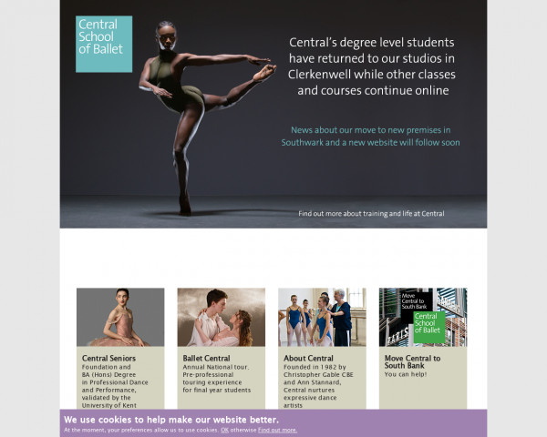 Desktop screenshot of Central School of Ballet in London website