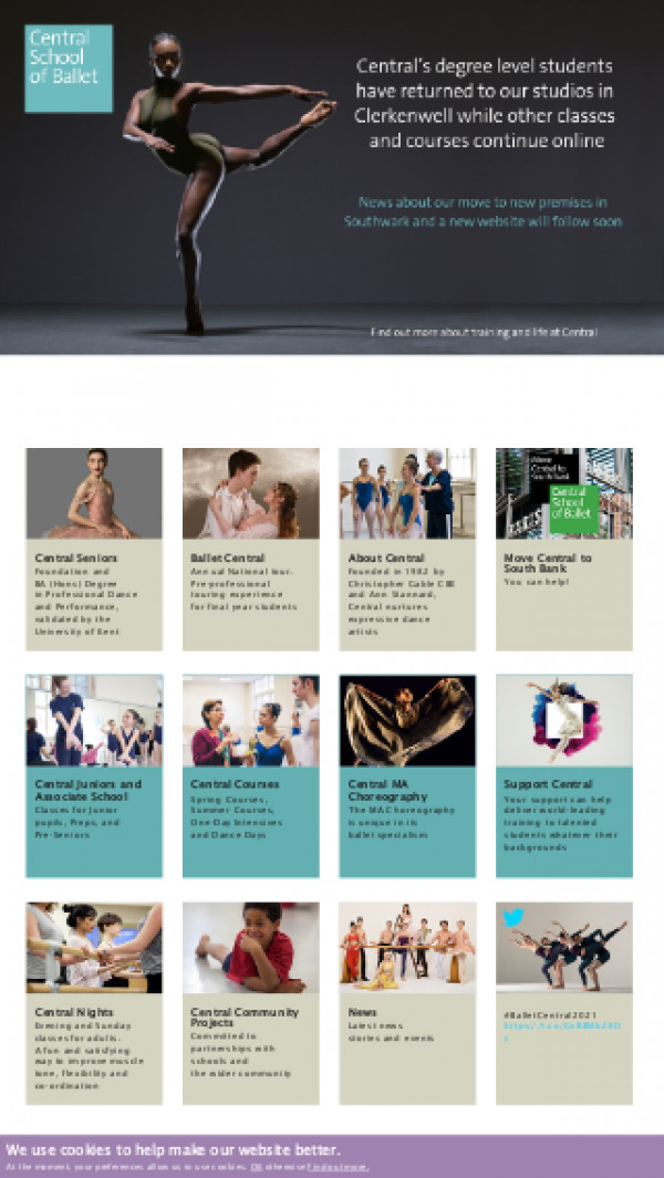 Mobile screenshot of Central School of Ballet in London website