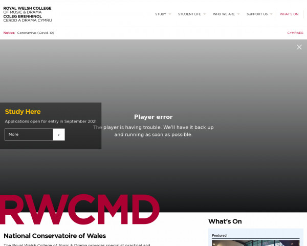Desktop screenshot of Royal Welsh College of Music and Drama website