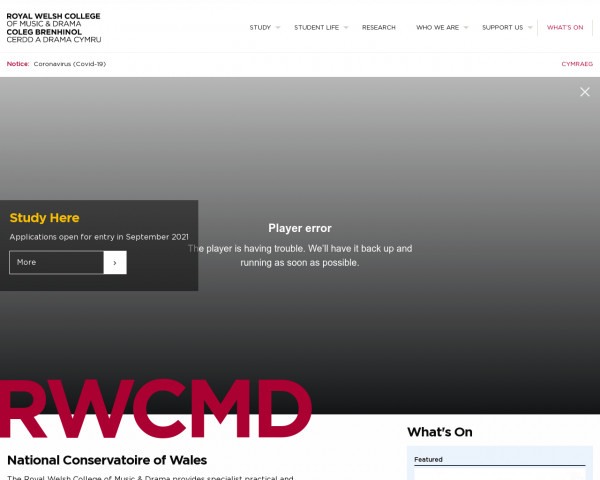 Screenshot of Royal Welsh College of Music and Drama