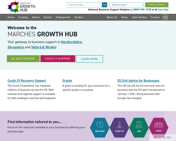 Screenshot of Business Grants, Loans & Support Herefordshire, Shropshire & Telford