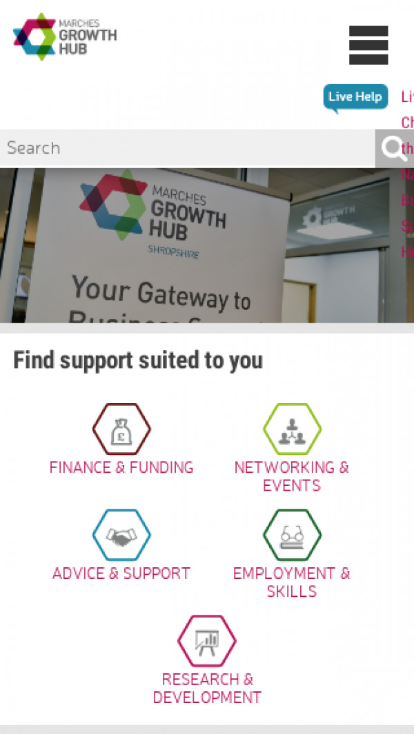 Mobile screenshot of Marches Growth Hub website
