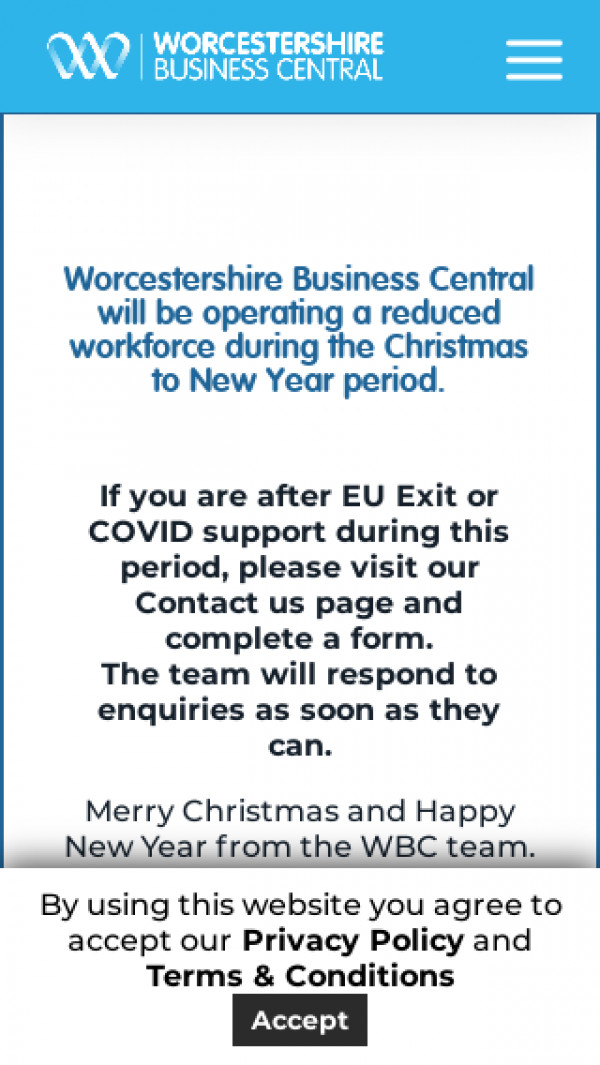 Mobile screenshot of Worcestershire Business Central website