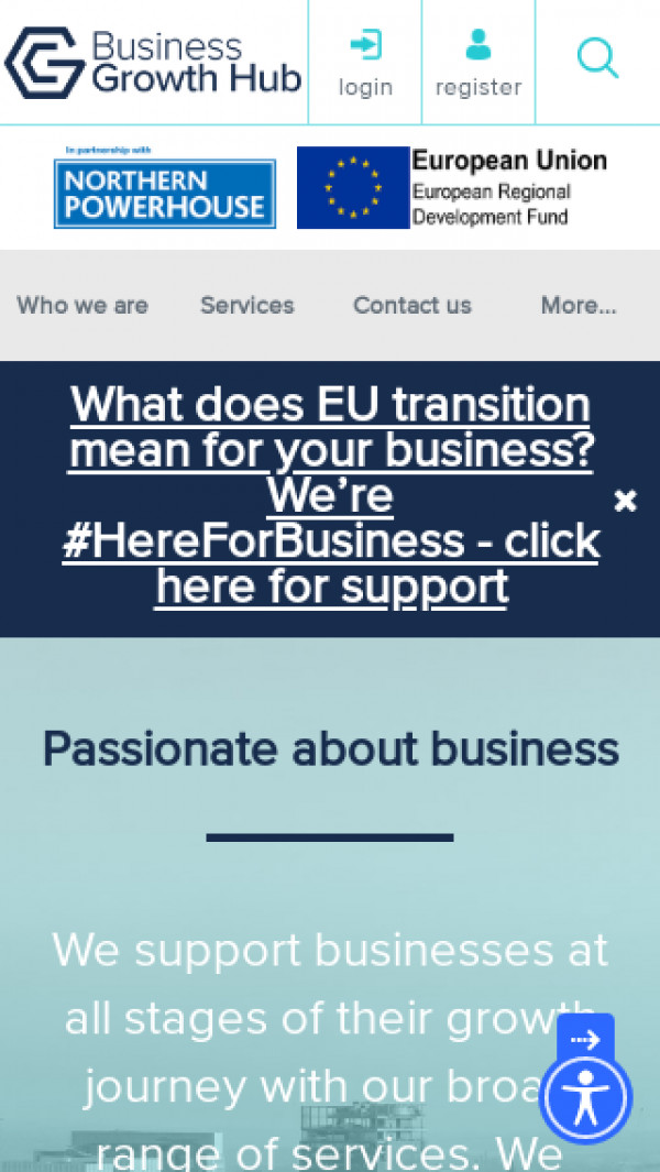 Mobile screenshot of Greater Manchester Business Support website