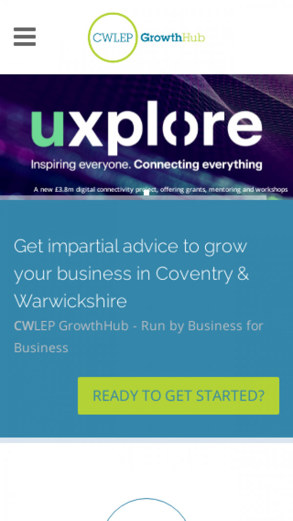 Mobile screenshot of Coventry and Warwickshire LEP Growth Hub website
