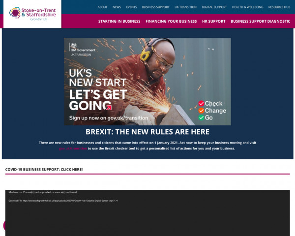 Screenshot of Business Support in Stoke on Trent and Staffordshire -
