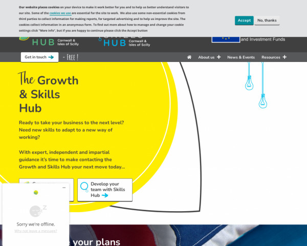 Desktop screenshot of Cornwall and Isles of Scilly Growth Hub website