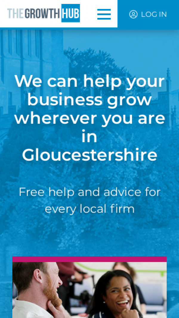 Mobile screenshot of The Growth Hub (Gloucestershire) website