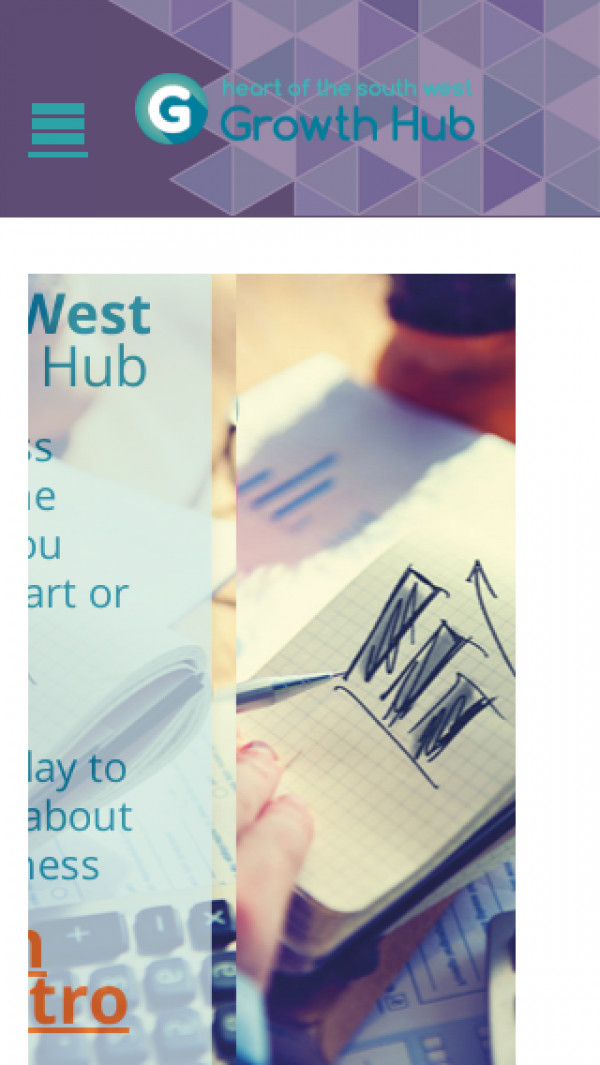 Mobile screenshot of Heart of the South West Growth Hub website