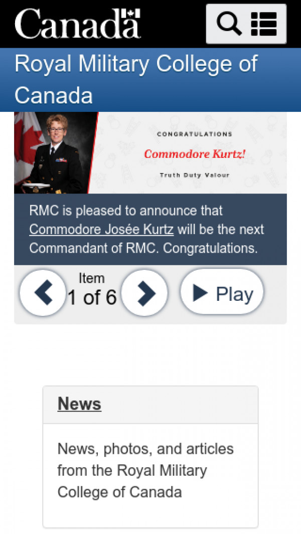 Mobile screenshot of Royal Military College of Canada website