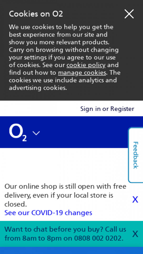Mobile screenshot of O2 website