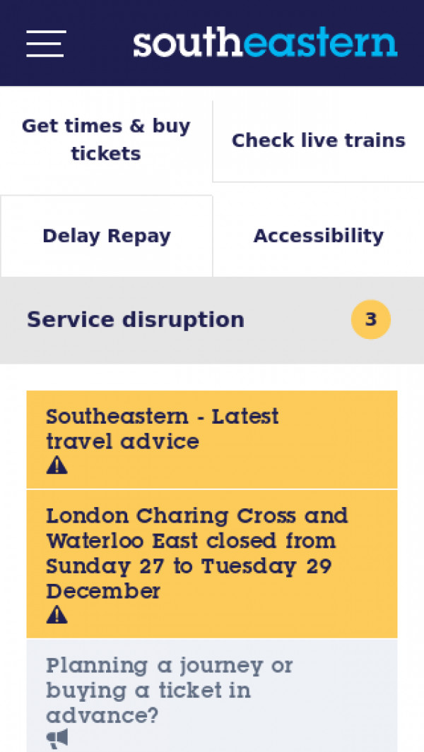 Mobile screenshot of Southeastern website