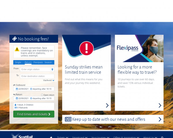 Screenshot of Train Tickets | Times & Timetables | Fares in Scotland | ScotRail
