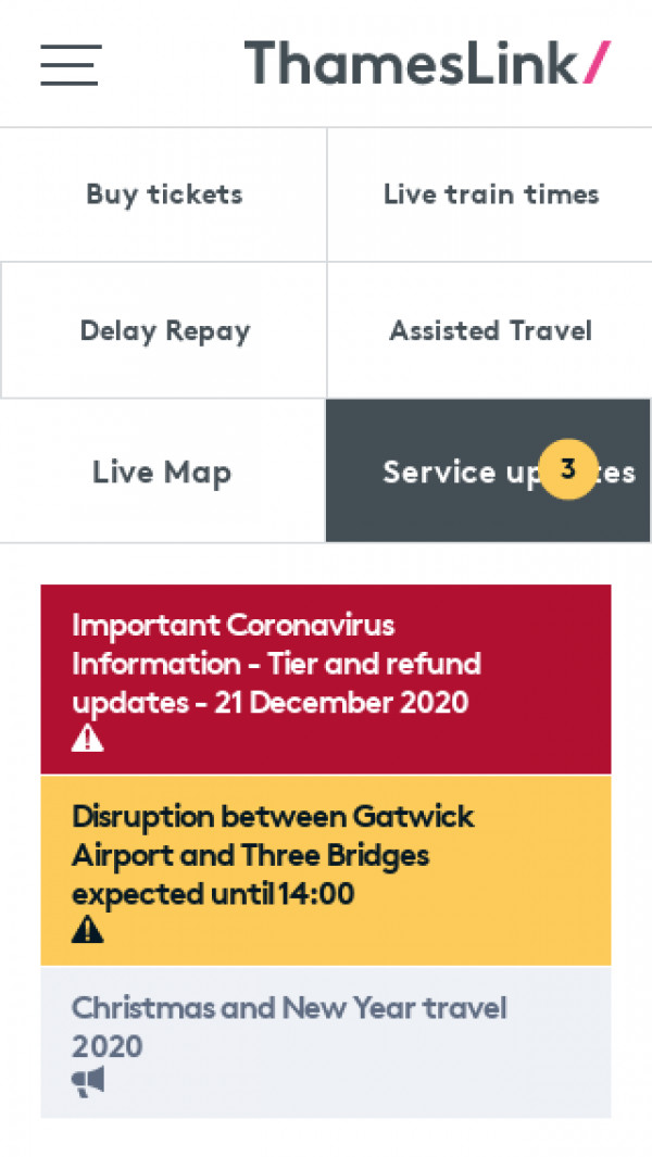 Mobile screenshot of Thameslink website