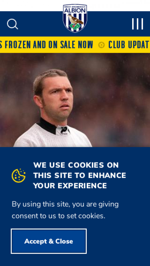 Mobile screenshot of West Bromwich Albion FC website