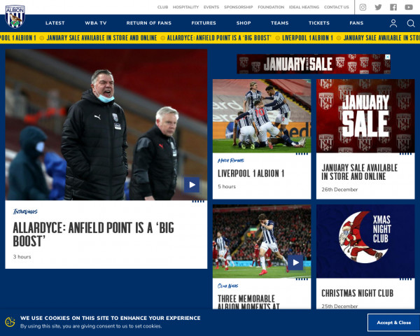 Desktop screenshot of West Bromwich Albion FC website