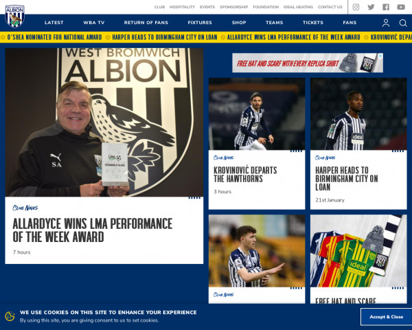 Screenshot of West Bromwich Albion FC