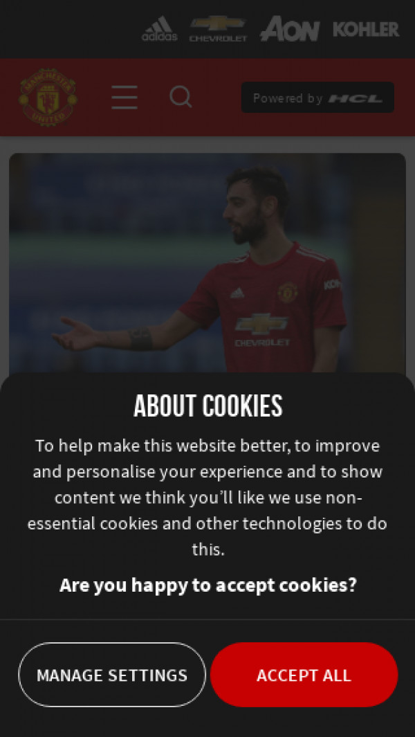 Mobile screenshot of Manchester United FC website