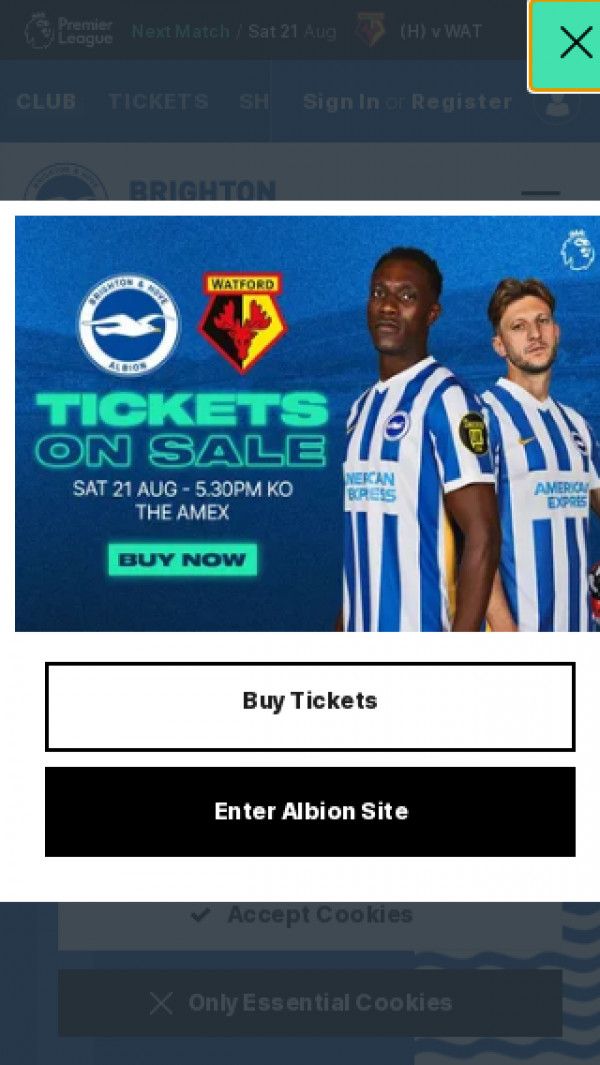 Mobile screenshot of Brighton and Hove Albion FC website