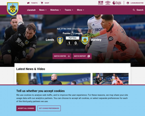 Desktop screenshot of Burnley FC website