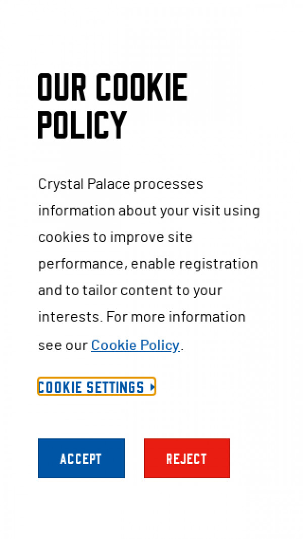 Mobile screenshot of Crystal Palace FC website