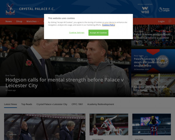 Desktop screenshot of Crystal Palace FC website