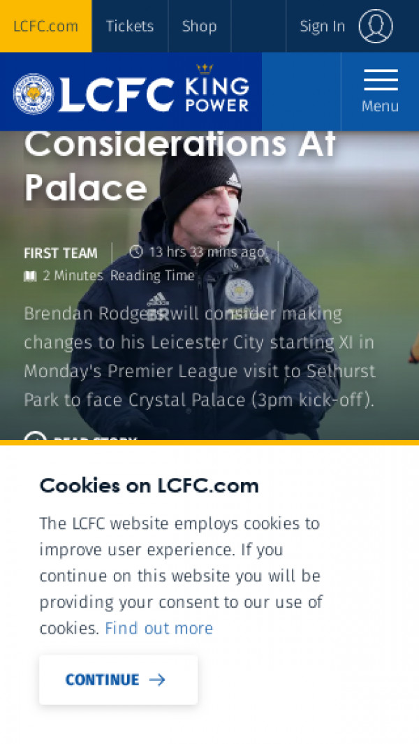 Mobile screenshot of Leicester City FC website