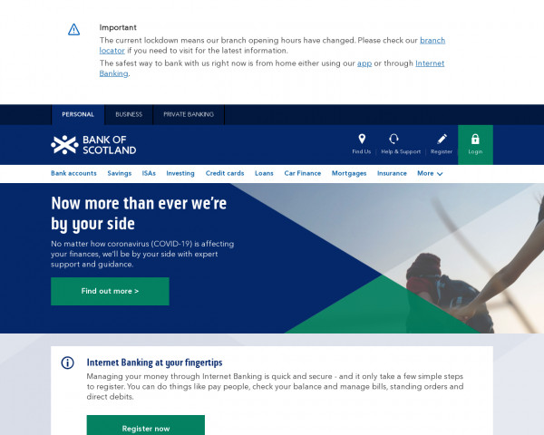 Screenshot of Bank of Scotland