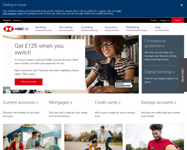 Desktop screenshot of HSBC Bank PLC website